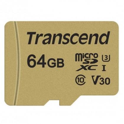 КАРТА ПАМЯТИ 64gb TRANSCEND MICROSDXC/SDHC 500S GOLD CARDS (V30 UHS-1 U1/U3)
