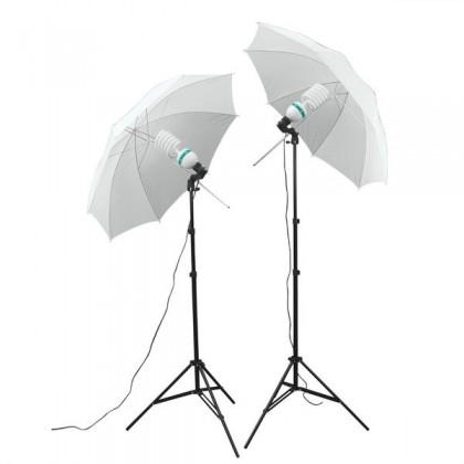 Studijas gaismas komplekts ar profesionālam spuldzem 2x 65W / 650W (EQ) ar lietussargiem 110cm