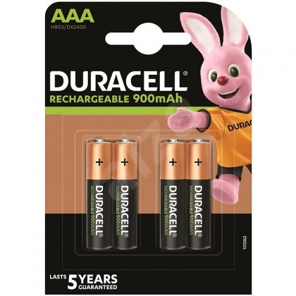 4 x Duracell R03 AAA 900 mAh rechargeable batteries (blister)