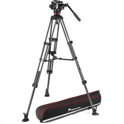 Manfrotto 504X Fluid Video Head & MVTTWINMA Tripod with Mid-Level Spreader (MVK504XTWINMA)