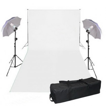 3mx6m White Background 2x125W Continuous Studio lighting Umbrella Kit