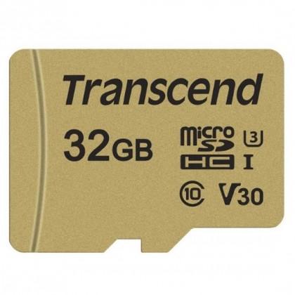 ATMIŅAS KARTE TRANSCEND MICROSDXC/SDHC 500S GOLD CARDS (V30 UHS-1 U1/U3)