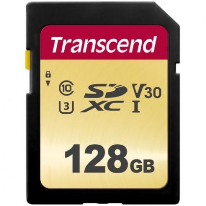 128GB Transcend 500S UHS-I U3 SDXC MLC (V30) R95/W60 Memory Card