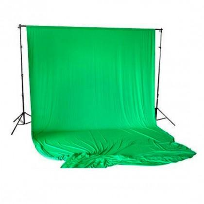 Studijas komplekts ar zaļu fonu Bresser BR-T26 Support 2.6m x 3m + 3x6m Green Chromakey