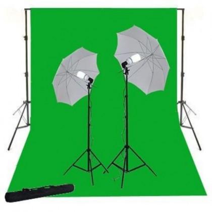 3mx6m Green chromakey Background 2x125W Continuous Studio lighting Umbrella Kit