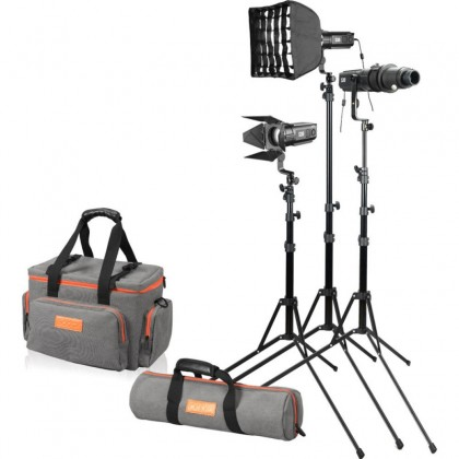 Godox SA-D S30 Focusing LED 3-Light Kit 3x S30 light,3x light stand, 1x Projection Attachment with 85mm Lens, 2x softbox
