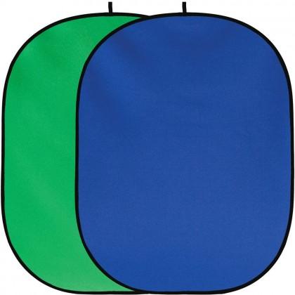 Saliekams foto fons 150x200cm Green / Blue chromakey kokvilna