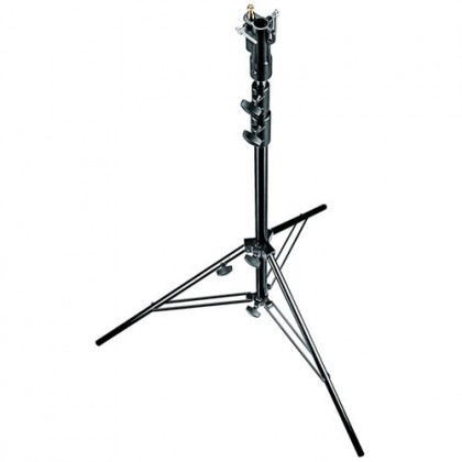 Manfrotto Steel Stand with Leveling Leg (Black/Chrome-plated, 007BSU)