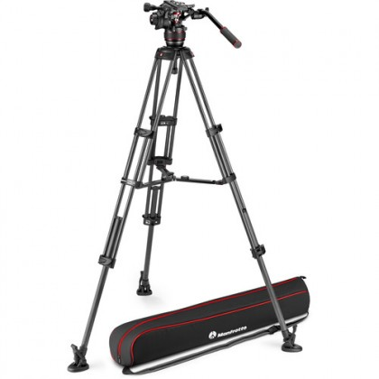 Manfrotto 608 Nitrotech Fluid Video Head and Carbon Fiber Twin Leg Tripod with Middle Spreader (MVK608TWINMC)