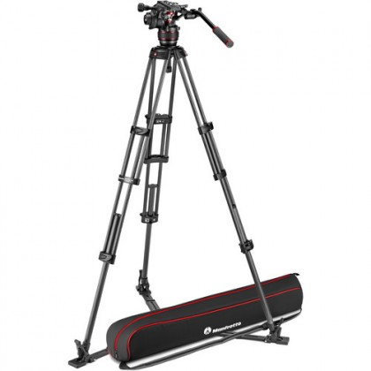 Manfrotto 608 Nitrotech Fluid Video Head and Carbon Fiber Twin Leg Tripod with Ground Spreader (MVKN8TWINGC)