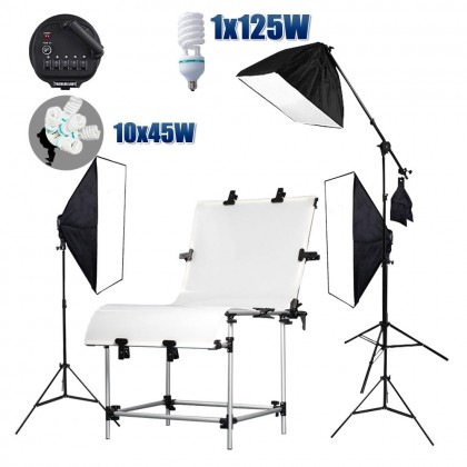 10x65W+125W Bulb with Softbox, 60x130cm Shooting Table