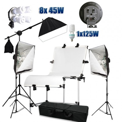 Photo Studio Shooting Table 130x60cm + Continuous Lighting Kit 3900W
