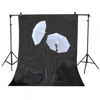 3mx6m Black Background 2x125W Continuous Studio lighting Umbrella Kit
