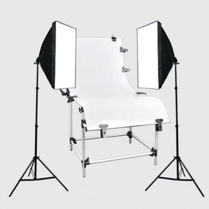 2 x 65W Foto studijas gaismas komplekts + Shooting Table 60 x 130cm